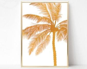 Golden Palm Print, Gold White Wall Art, Printable Palm Tropical Print, Gold Poster Wall Art, Golden Palm Tree Print, Gold Wall Art Decor