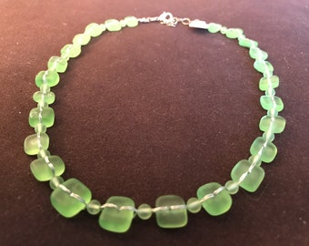 Sea Glass and Silk Strand Necklace
