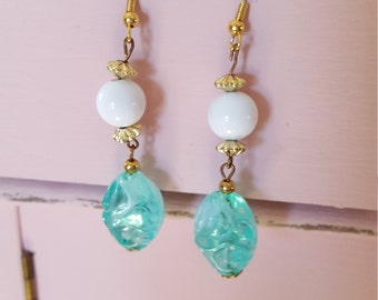 Vintage reclaimed clip on earrings into aqua and white pierced earrings