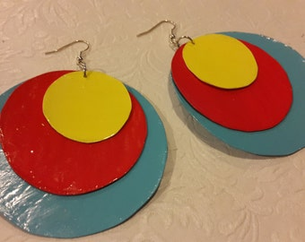 red,yellow and blue earrings