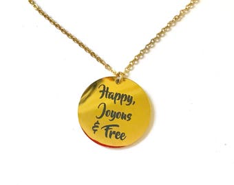 Happy, Joyous & Free 18K Gold Plated Engraved Necklace - One Year Sobriety Gifts - Sober Anniversary Gift - Sponsor Gift - Sponsee Gift