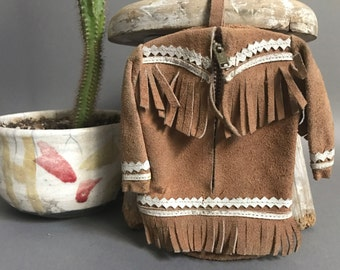 Vintage Mexican leather folk purse from Tamaulipas