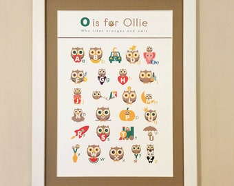 Personalised Framed Owlphabet.