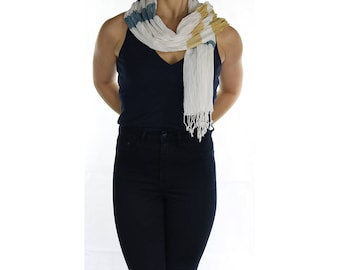White Womens Creased-Effect Cotton Scarf Shawl Wrap Stole – Handmade