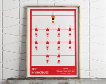 Arsenal fc, Invincible Team, Football Poster, Soccer Print, Football Gifts, Art Print, Sports Print, Soccer Art, Gifts for Husband