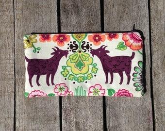 purse,makeup bag, pencil case, goat purse, alexander henry