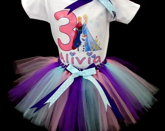 Custom Frozen Inspired Princess Tutu and Tshirt/Onesie Birthday Outfit