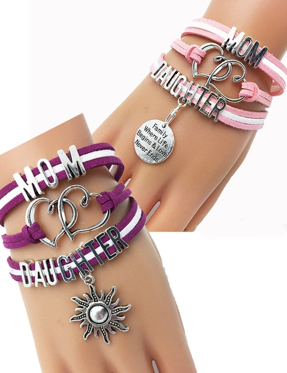 Mom or Daughter suede bracelet-CHOOSE CHARM +Discounts & FREE Shipping*