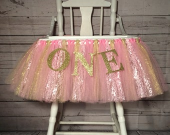 Pink and Gold High Chair Tutu- High Chair Skirt- Highchair tutu- Highchair skirt-Pink and Gold 1st Birthday- Pink and Gold High Chair Tutu