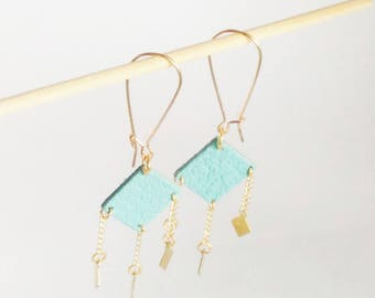 Diamond leather and brass earrings