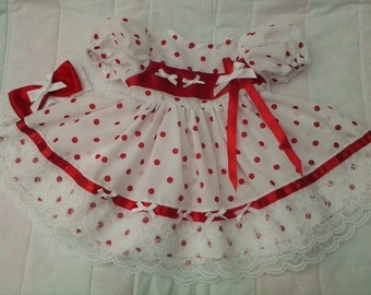 White with red spot dress, stretch headband and socks