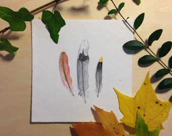 Three Feathers - Original Watercolor Painting
