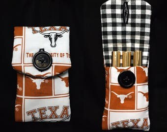 Lipstick lipgloss holder pouch lipsense collection texas longhorns university if texas accessories makeup cosmetics gifts