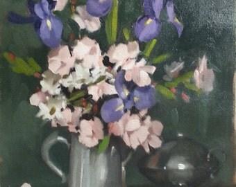 Camellias in a Silver Tea Pot