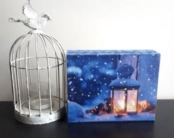 Decoupage winter lantern wooden box card box vintage