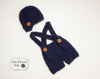 Newborn crochet outfit, newborn boy crochet outfit, newborn boy suspender, newborn suspender, newborn crochet suspender, crochet overall