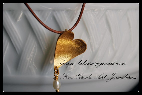 Heart Necklace Silver 925 Gold-plated Pearl Lakasa e-shop Jewelry