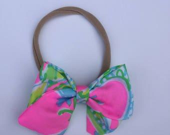 Baby Bow // Baby Headband // Lilly Pulitzer Bow // Coconut Jungle