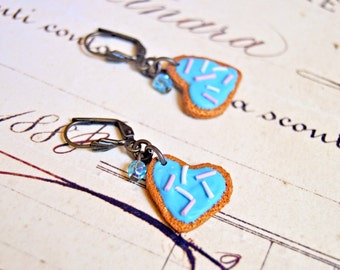Handmade polymer clay sugar cookies earrings - Miniature food jewelry, miniature food earrings, sugar cookie earrings