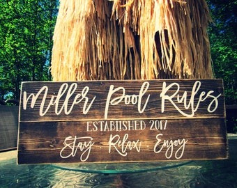 Pool Rules Sign. Personalized Pool Sign. Rustic Pool Sign. Wood Pool Sign.