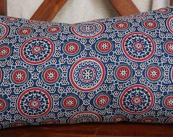 Punjab 20 series: Cover 30x50cm (12 x 20) cushion, cotton, red, black, white, blue, Indian motifs ajrakh.
