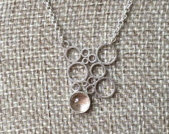 Small bubble necklace with rutilated quartz