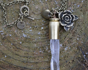 Long Clear Quartz Crystal 40 Caliber Shell Casing with Rose and Heart Brass Charms L0022