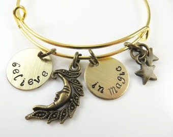 Hand stamped - believe in magic - expandable bracelet