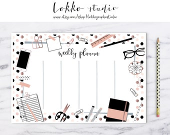 Weekly Planner / 2017 Weekly Planner / Bullet Journal / Digital Planner Pages / Printable / Schedule / To do list / PNG / organize / notepad
