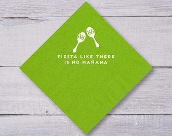 Dinner Napkins, Wedding Napkins, Custom Napkins, Party Napkins, Fiesta Like There's No Mañana, Maraca, Fiesta Party, Birthday Napkins, 1299