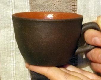 Ceramic coffee mug, handmade mug. Firing clay milk