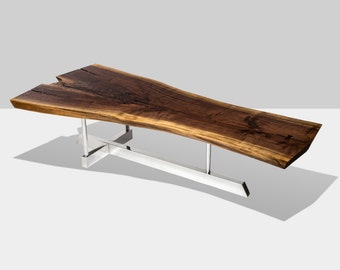 T TABLE | Live Edge Wood & Aluminum Coffee Table