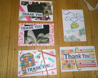 Thank You Cards Set of 5 Cute Handmade Colorful homemade blank envelopes 3D turtle flower pink girly girl images fun party
