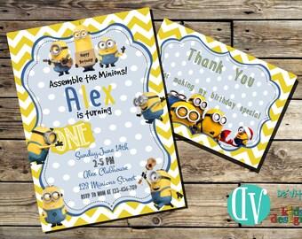 Minions Birthday Invitation Printable  5x7 or 4x6 and FREE Thank You Card Printable 5x3.5