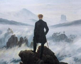 Caspar David Friedrich : Wanderer above the Sea of Fog (1818) Canvas Gallery Wrapped Wall Art Print