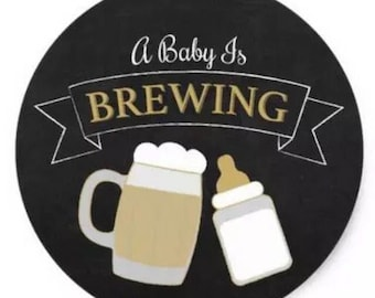 "24 PCS ""A Baby is Brewing"" Baby Shower Sticker, Seals, Scrapbook Supplies, Stationary, Paper, Paper Stickers, Stickers, Party Supply"