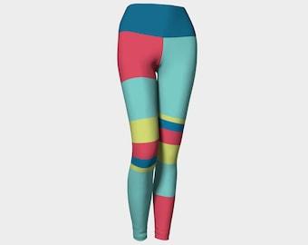 Cirque du Soleil Leggings, Blue, Green, and Fuchsia Striped Yoga Pants, Leggings, Women's Striped Leggings