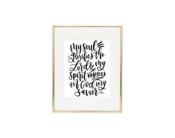 Typography Art Print/Christian Scripture Wall Art/Bible Verse Handlettering Print
