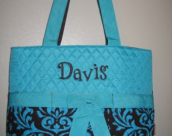 QUILTED DAMASK Brown & blue diaper bag FREE personalization
