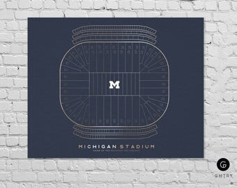 "University of Michigan Stadium Print (The Big House) - 8"" x 10"" - Fan Art - Michigan Wolverines 