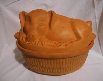Resting Pig TerraCotta Roaster / Baking Dish / Dutch Oven