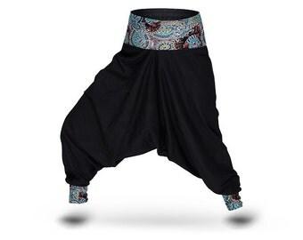 Cotton Harem pants Women Yoga pants Black / Turquoise
