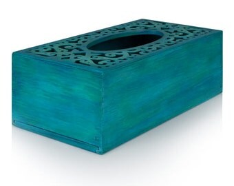 Tissue box cover handmade Kleenex holder wooden box Turquoise II