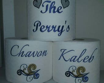 Personalized Family Embroidered Toilet Paper Decorations