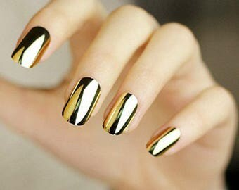 Mirror nails etsy mirror powder for rubbing gold chrome effect professional grade for nail art cosmetic dry sparkling glitter prinsesfo Choice Image