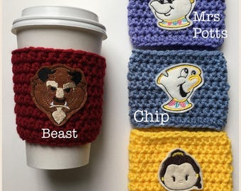 Beauty and the Beast Inspired Coffee Cozy/Coffee Sleeve