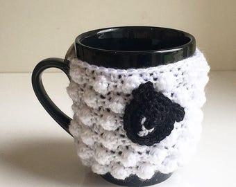Sheep/lamb mug cosy / cozy handmade crochet drink sleeve
