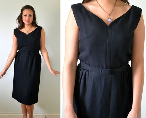 It's A Cinch Dress | vintage black 50's wiggle dress w/ belt | Medium Large