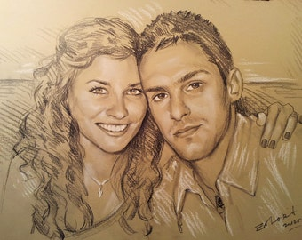 "custom pencil sketch12""x16"", two persons,portrait from photo,pencil portrait,pencil sketch"