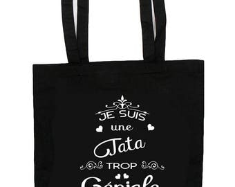 "Tote Bag ""I'm a cool aunt"" gift aunt personalized with first name"